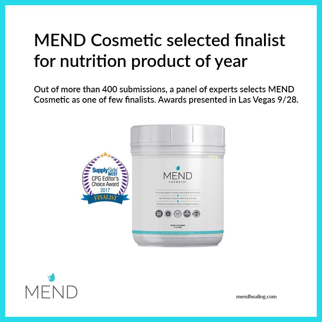 MEND Cosmetic Selected Editor's Choice Finalist