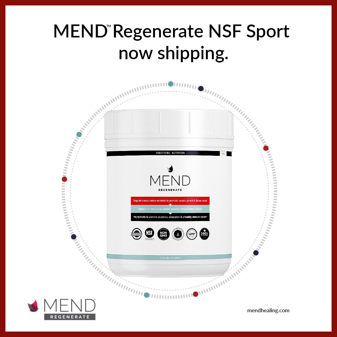 MEND™ REGENERATE NSF SPORT NOW SHIPPING TO NFL, NBA and MLB CLIENTS