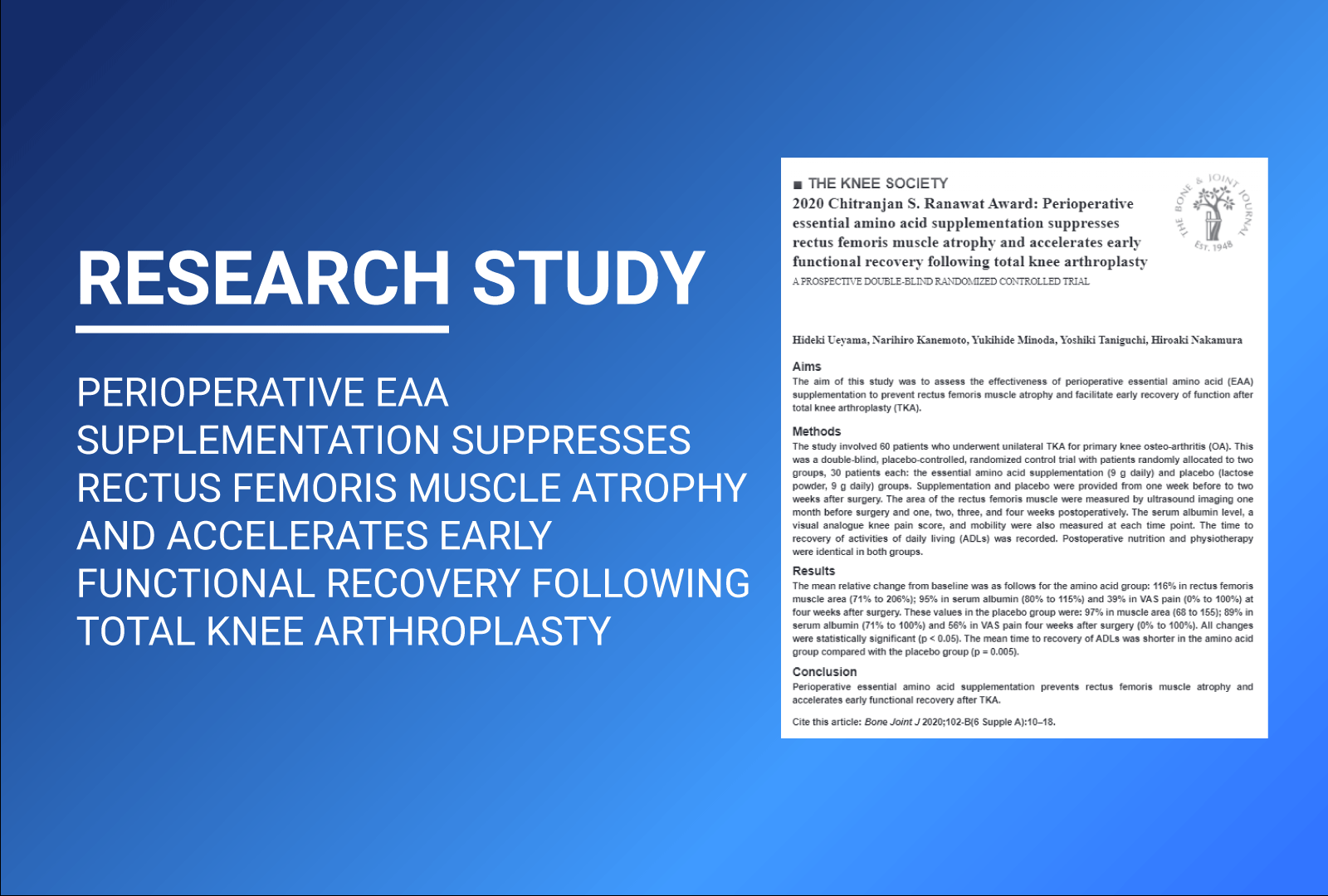 Research study: EAA enhances recovery from Total Joint Surgery