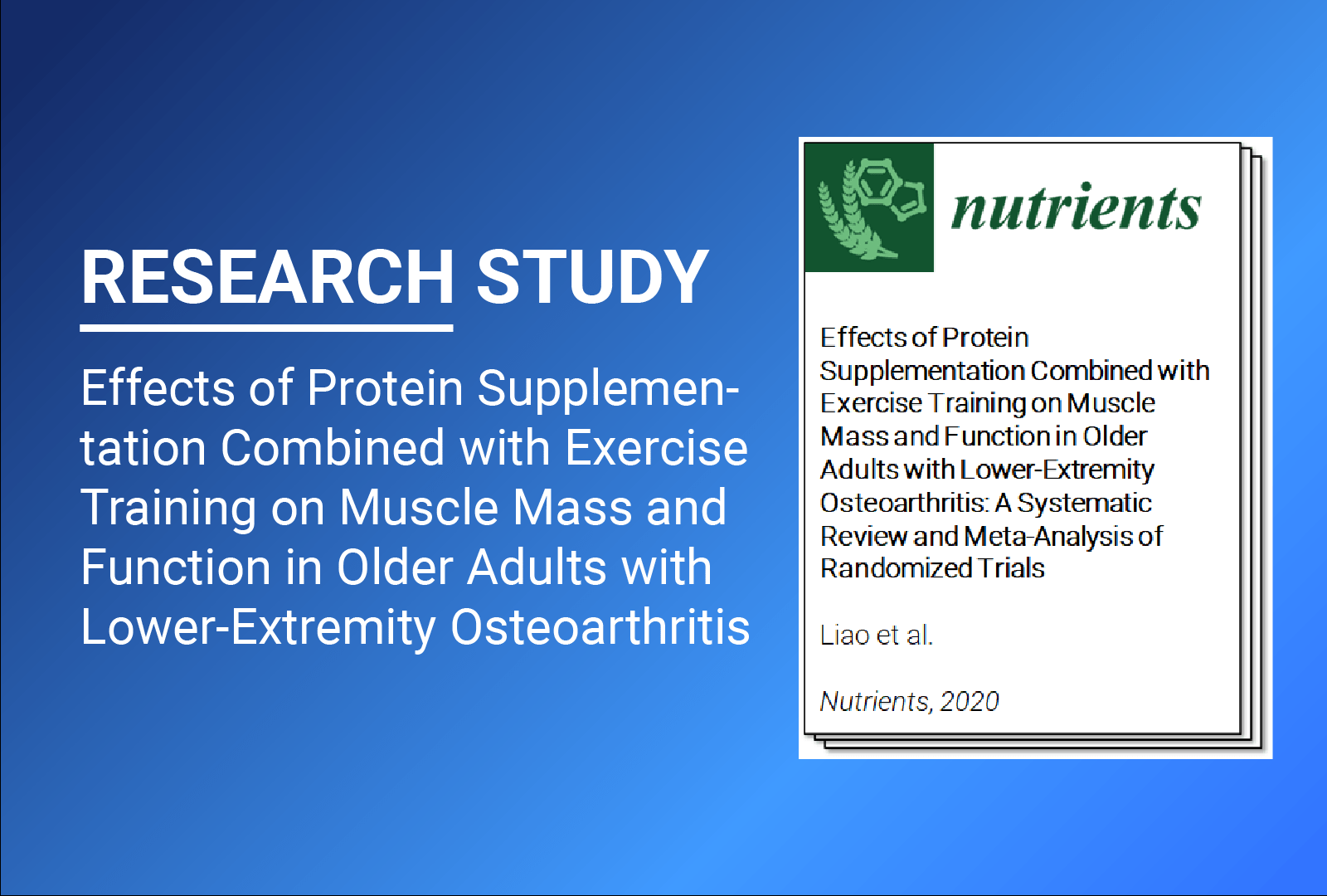 Clinical Paper: Meta-Analysis of Protein Supplementation in Lower-Extremity Osteoarthritis